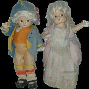 Vintage Pair of Composition Effanbee George and Martha Washington Patsyette Dolls