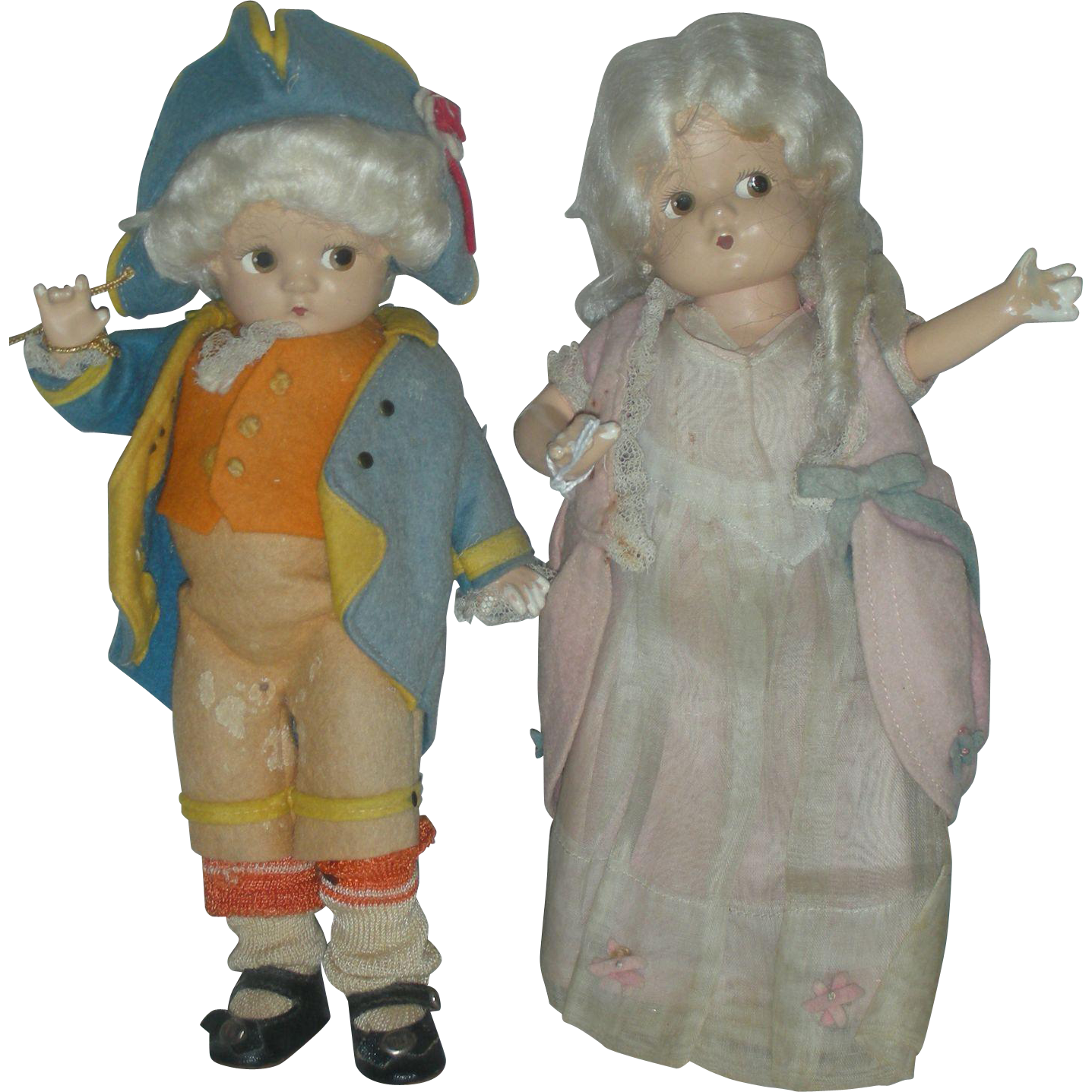 Vintage Pair of Composition Effanbee George and Martha Washington Patsyette Dolls