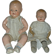 2 Vintage Composition Molded Hair Baby Dolls Horsman Dimples and Ideal