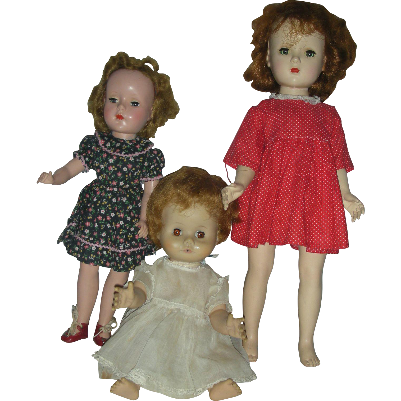 Lot of 3 Vintage Mid Century Dolls 2  Madame Alexander Hard Plastic and Vinyl Drink and Wet Doll