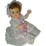 Vintage American Character Tiny Tears Doll Wearing Rare Organdy Party Dress