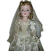 Vintage 1950s Madame Alexander Bride Doll Margaret Face Tagged Dress
