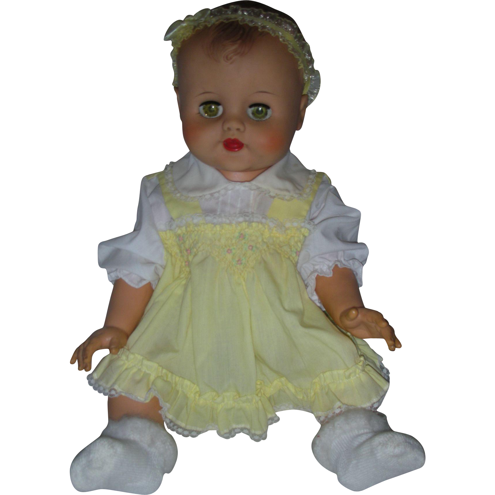 Vintage 1950s Heavy Vinyl Drink and Wet Doll with Molded Hair