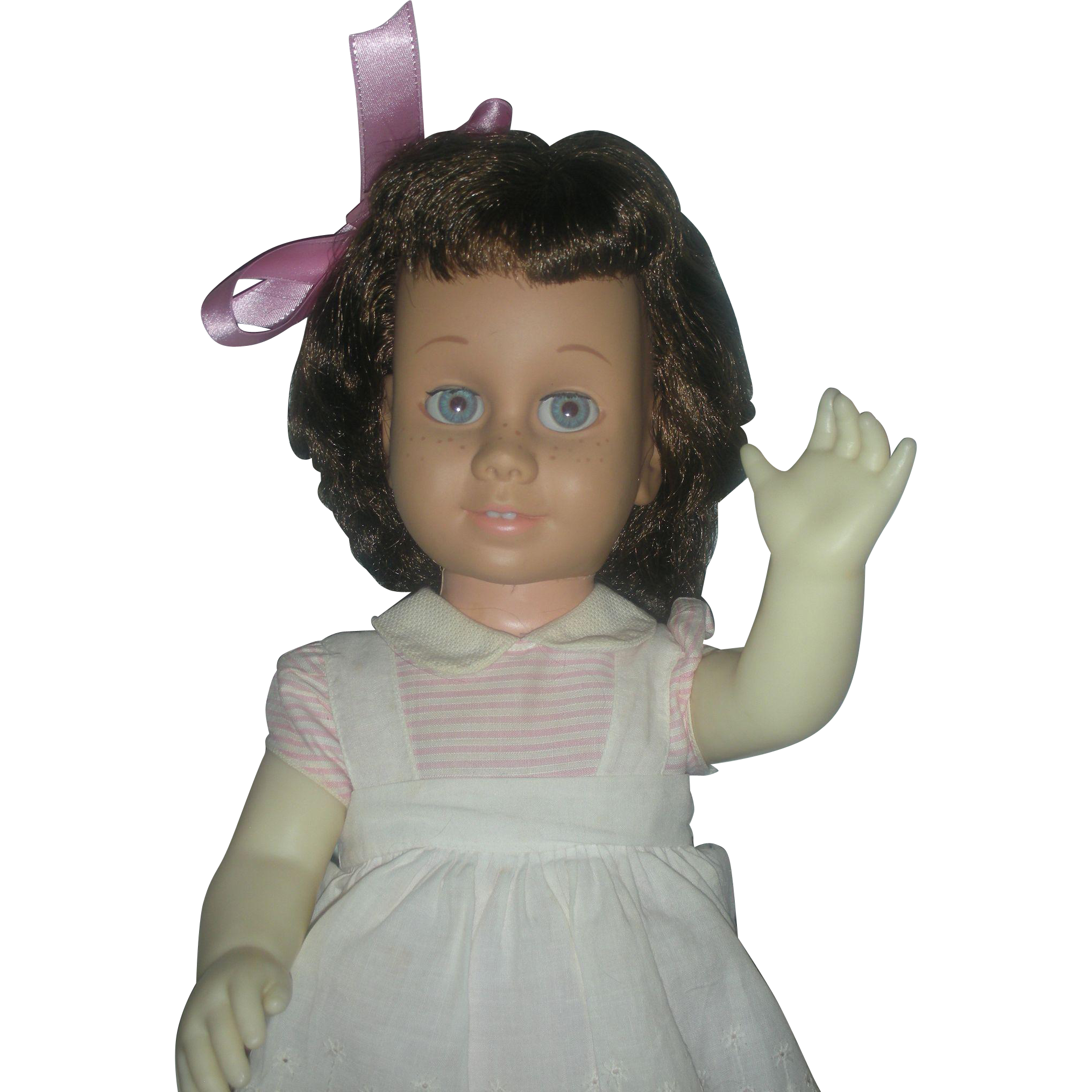Vintage Brunette Mattel 1960s Chatty Cathy Doll Wearing Original Peppermint Stick Dress