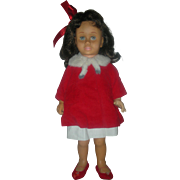 Vintage Mattel 1960s Chatty Cathy Brunette Doll wearing Tagged Christmas Coat