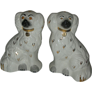 Vintage Pair Staffordshire Dog Figurines by Beswick England Mid Century Spaniels