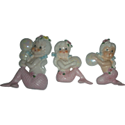 Vintage Mid Century Set of Mermaid Wall Plaque Figurines Pink Mermaid Family with Bubbles