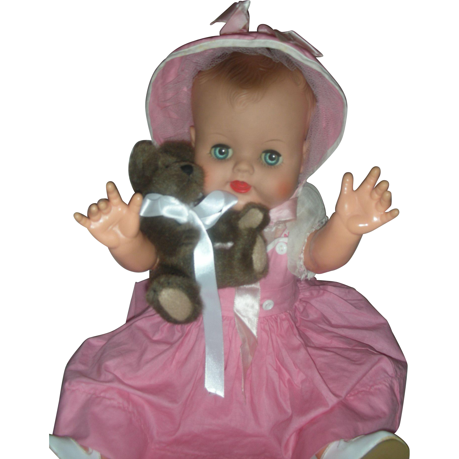 Vintage 1950s 20 Inch Drink and Wet Baby Doll Molded Hair Original Dress Excellent Condition Playpal Size