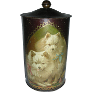 Vintage Early Biscuit Tin Litho or Tea Tea Depicting Dogs Animals