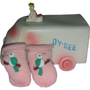 Rare Effanbee Dy-Dee Baby Doll Pink Knitted Booties with Birds Dy Dee