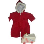 Rare Early Red Color Effanbee Dy-Dee Doll Paratrooper Snow Suit Dy Dee