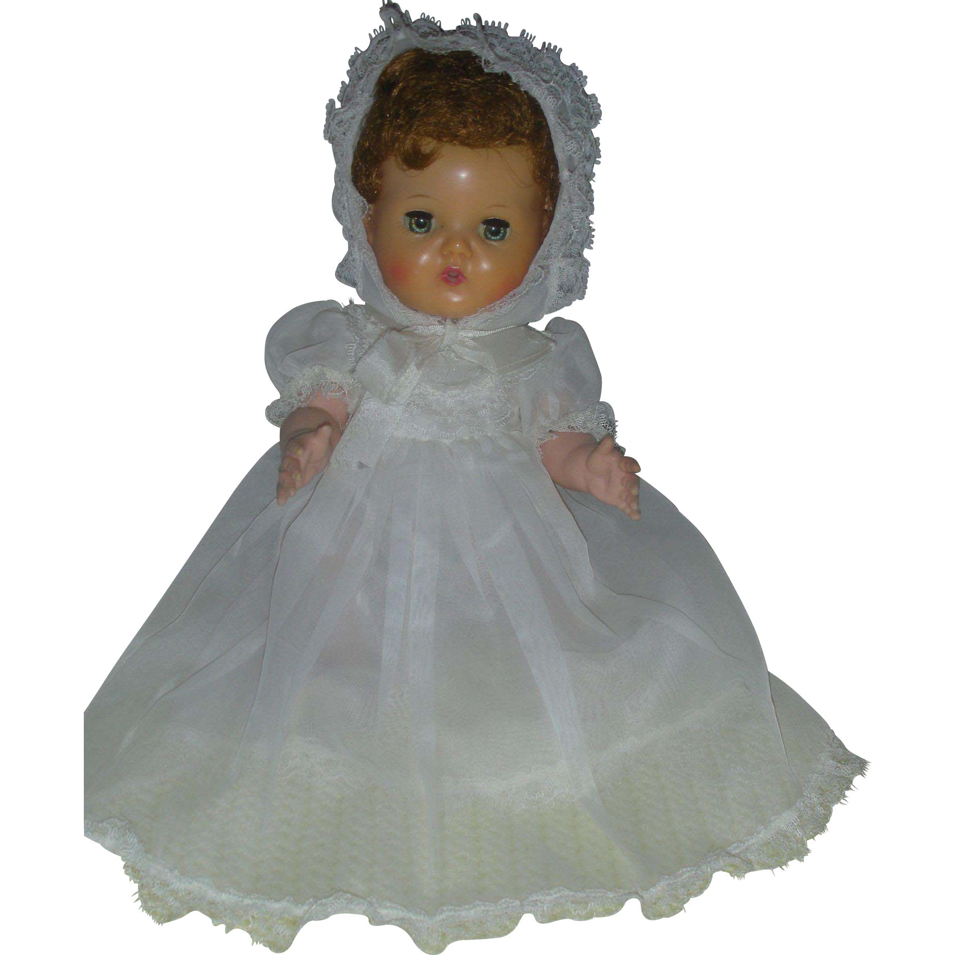 Vintage tiny 10 Inch American Charcter Tiny Tears Doll Wearing Rare Christening Gown and Bonnet