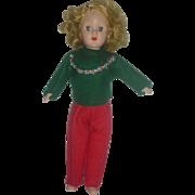 HTF Richwood Sandra Sue 8 inch Hard Plastic Doll Wearing Original Winter Clothing 1950s