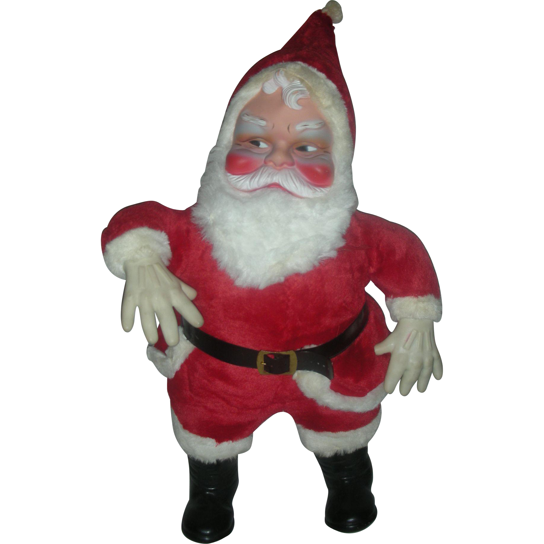 Huge Chubby Vintage 1950s Santa Stuffed Toy Store Display Rubber Face 25 Inch Mid Century Christmas Columbia Toys