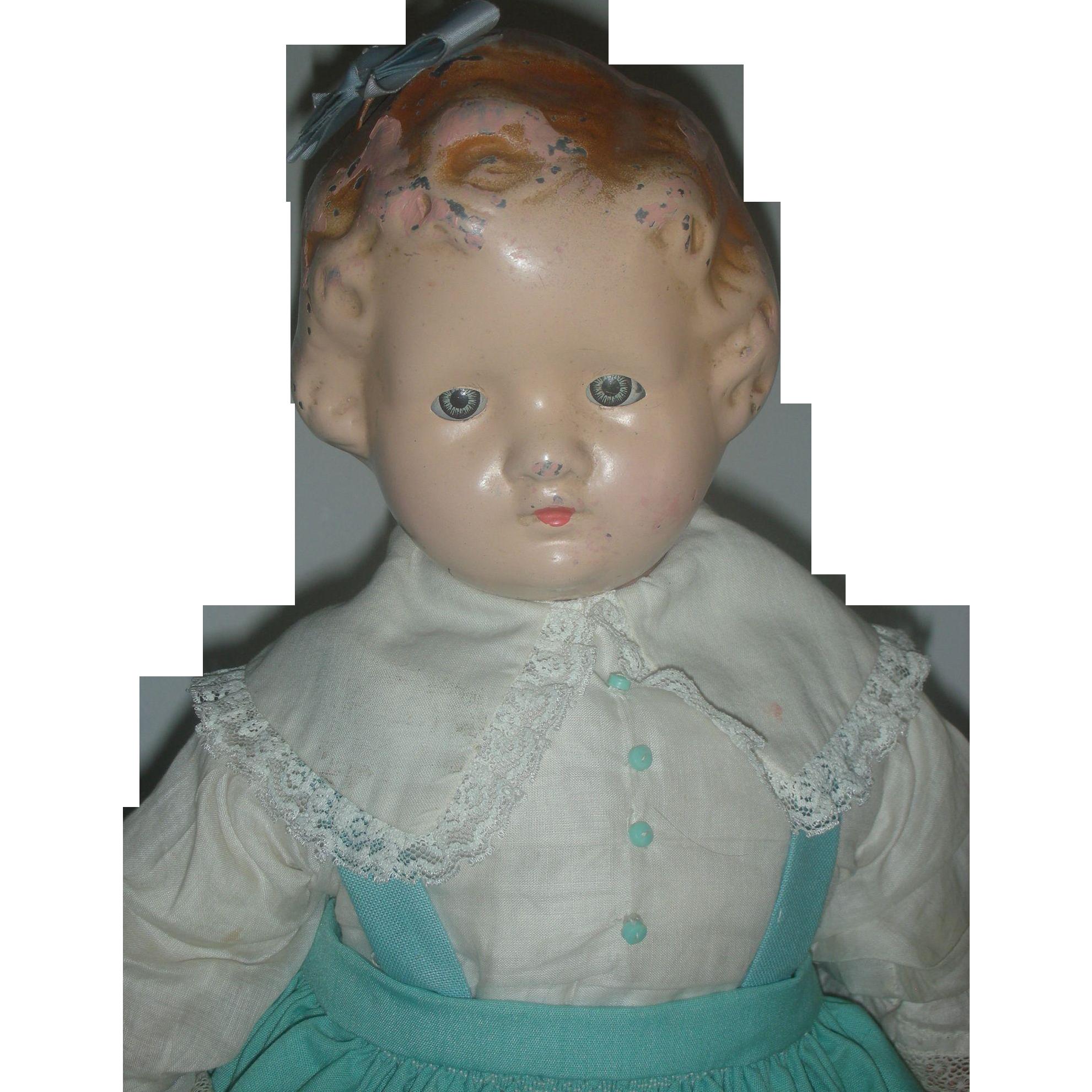 Rare Tin or Metal Hea Loop Hair Doll Compostion Arms and Legs an Sleep Eyes