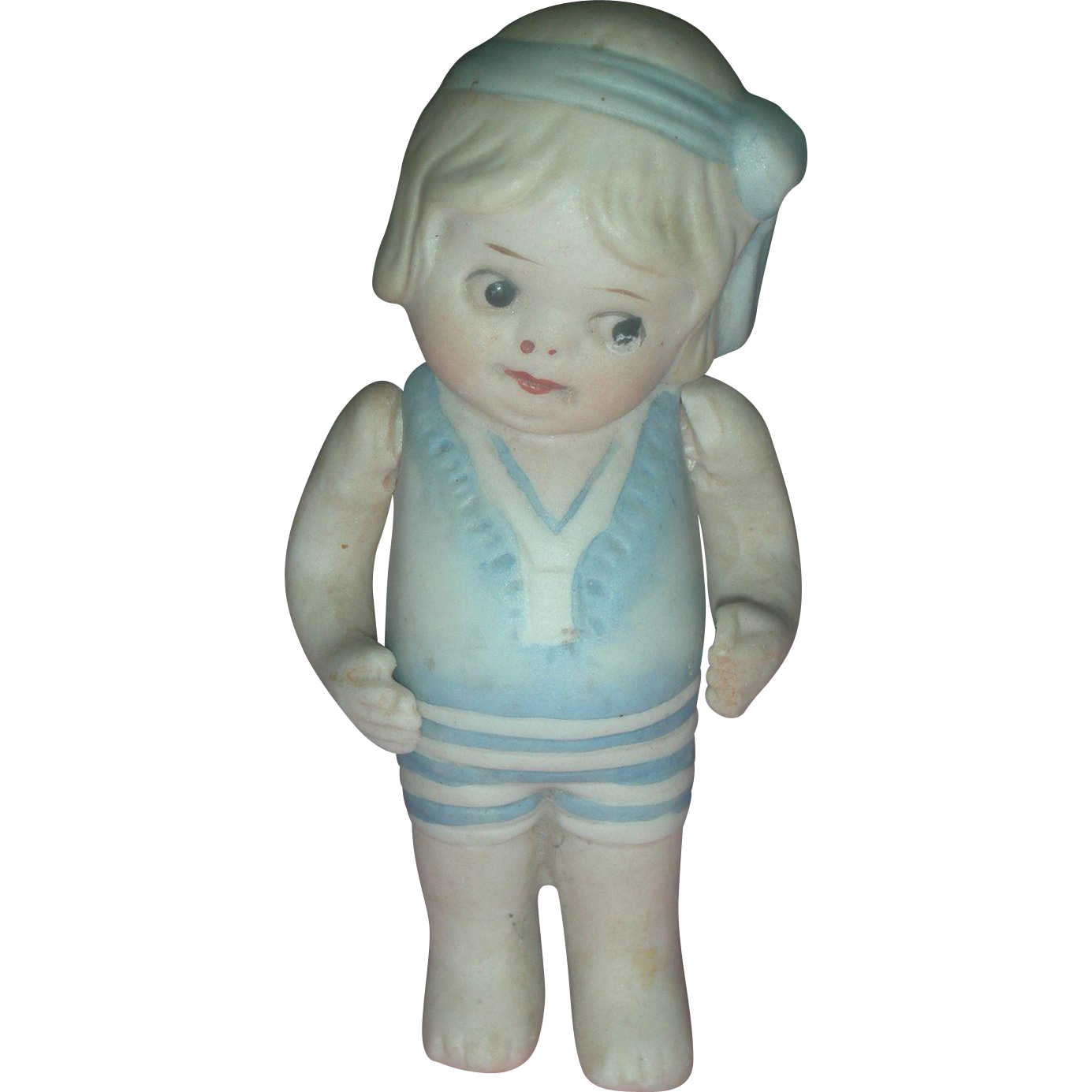 All Bisque Bathing Beauty Doll Side Glancing Eyes Chubby Tummy with Watermelon Smile