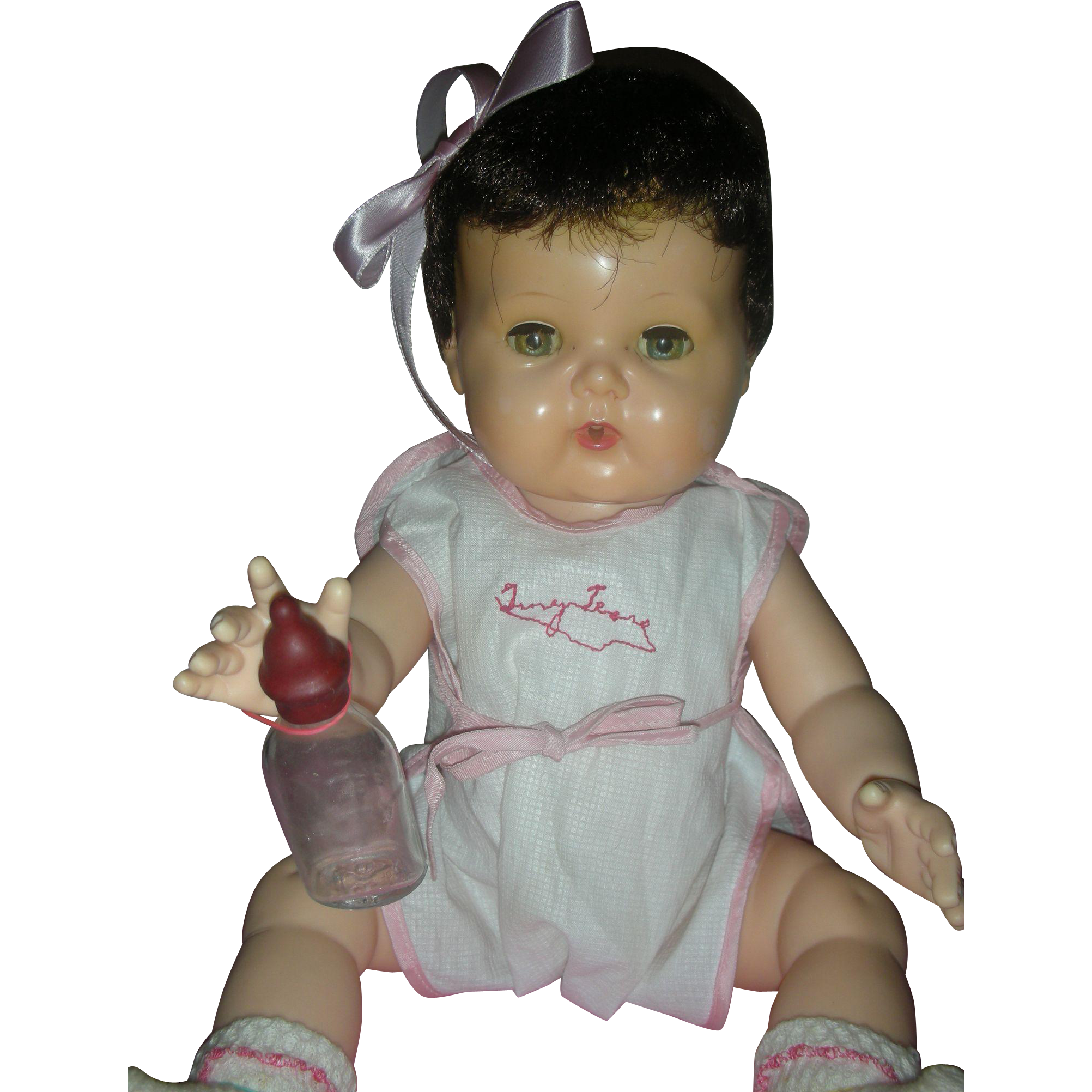 Vintage Rare Black Hair Tiny Tears Doll By American Character Drink and Wet Doll 15 inch
