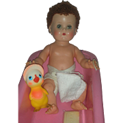 Vintage Ideal Betsy Wetsy Doll with Caracul Wig in Besty Wetsy Bathtub