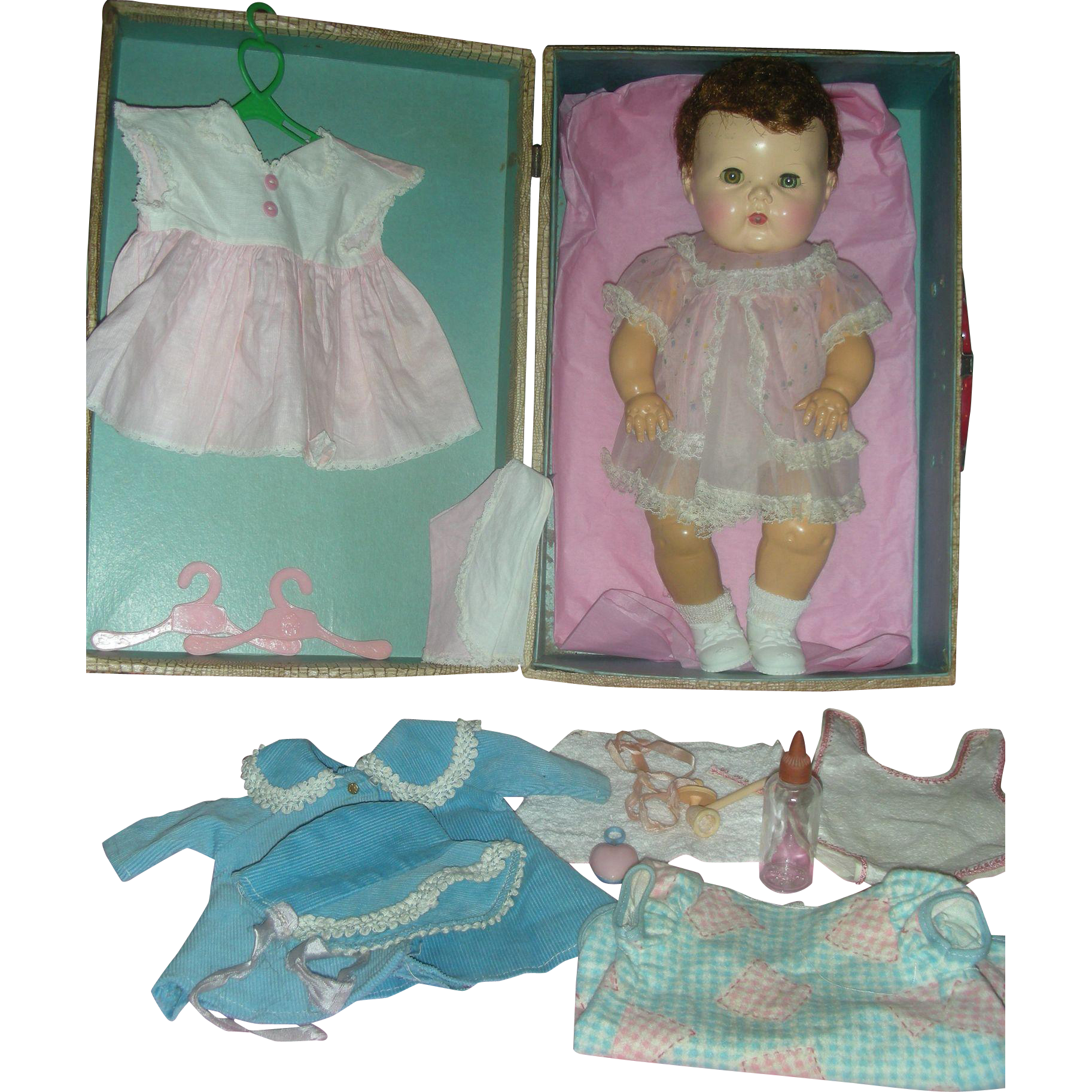 Early Tiny Tears Doll with Layette Rare Saran Hair with Rubber Body American Character 1950's Drink and Wet