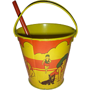 Vintage Tin Sand Toy Pail Kirchhof New Jersey with Shovel 1940's