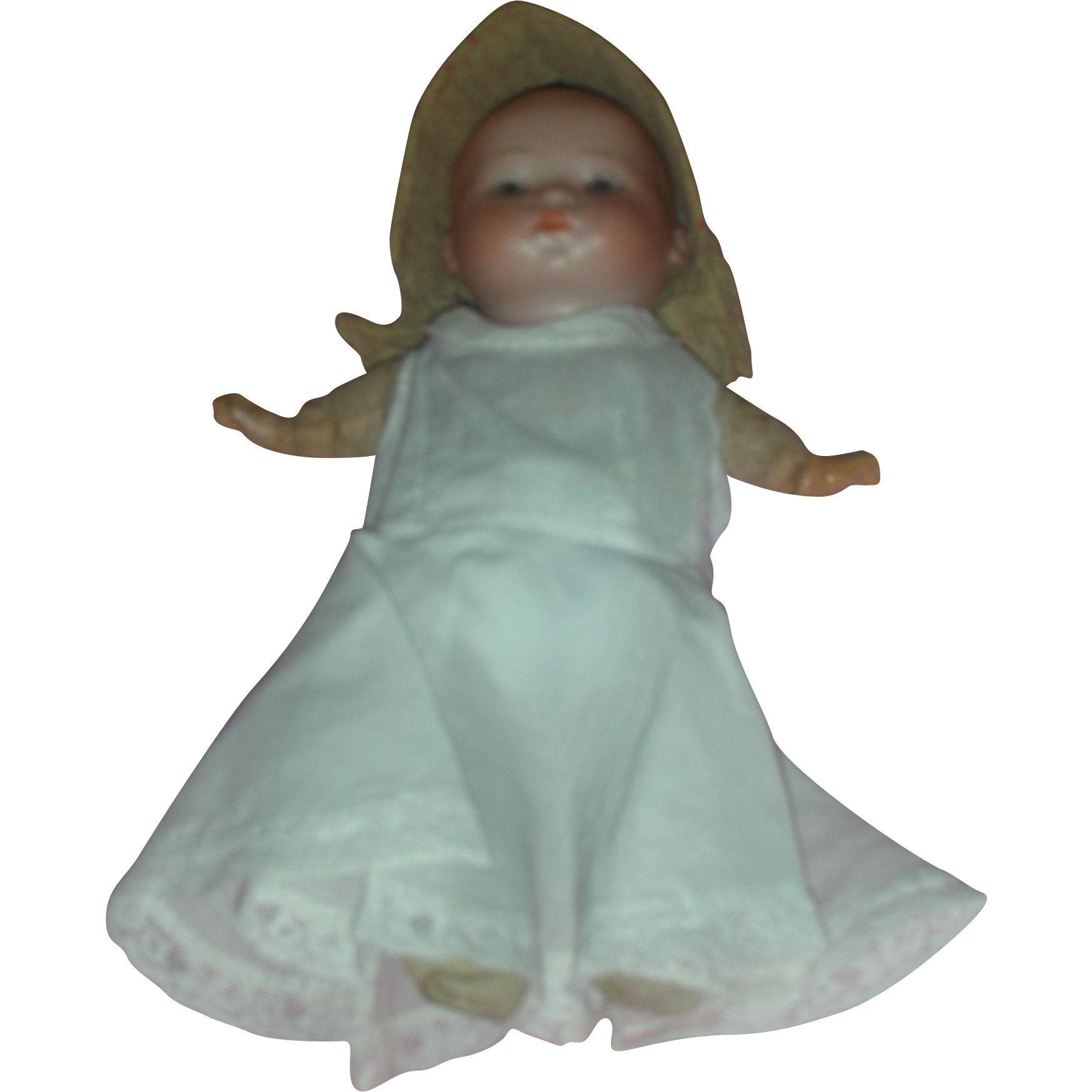 Antique Cabinet Size 9 inch Bisque Head Baby Doll in Gown marked Germany