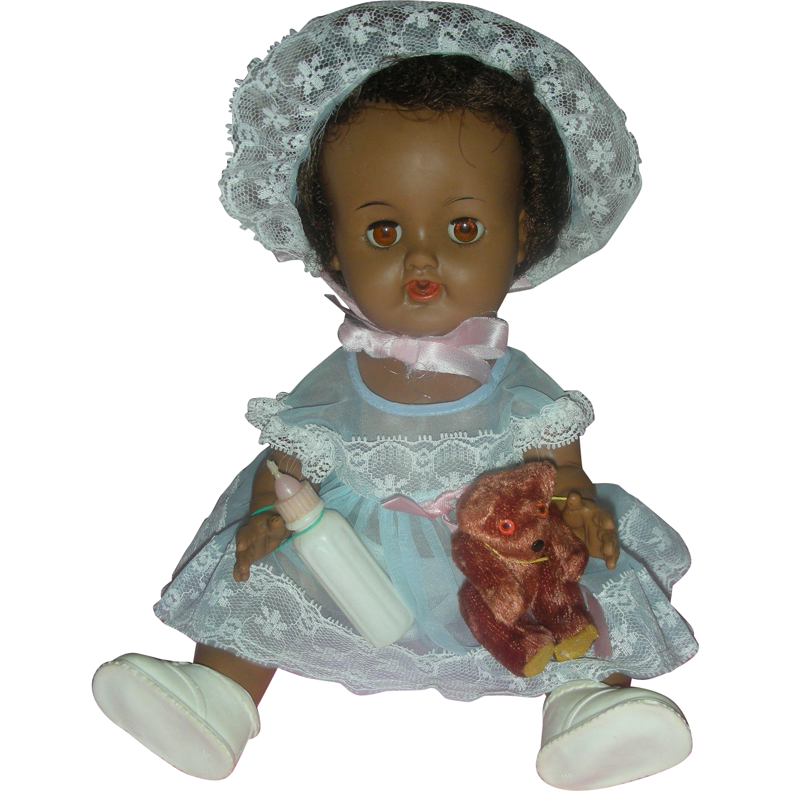 Rare Vintage Black Ideal Betsy Wetsy Drink and Wet Doll Wearing Blue Organdy Party Dress 1950's Drink and Wet
