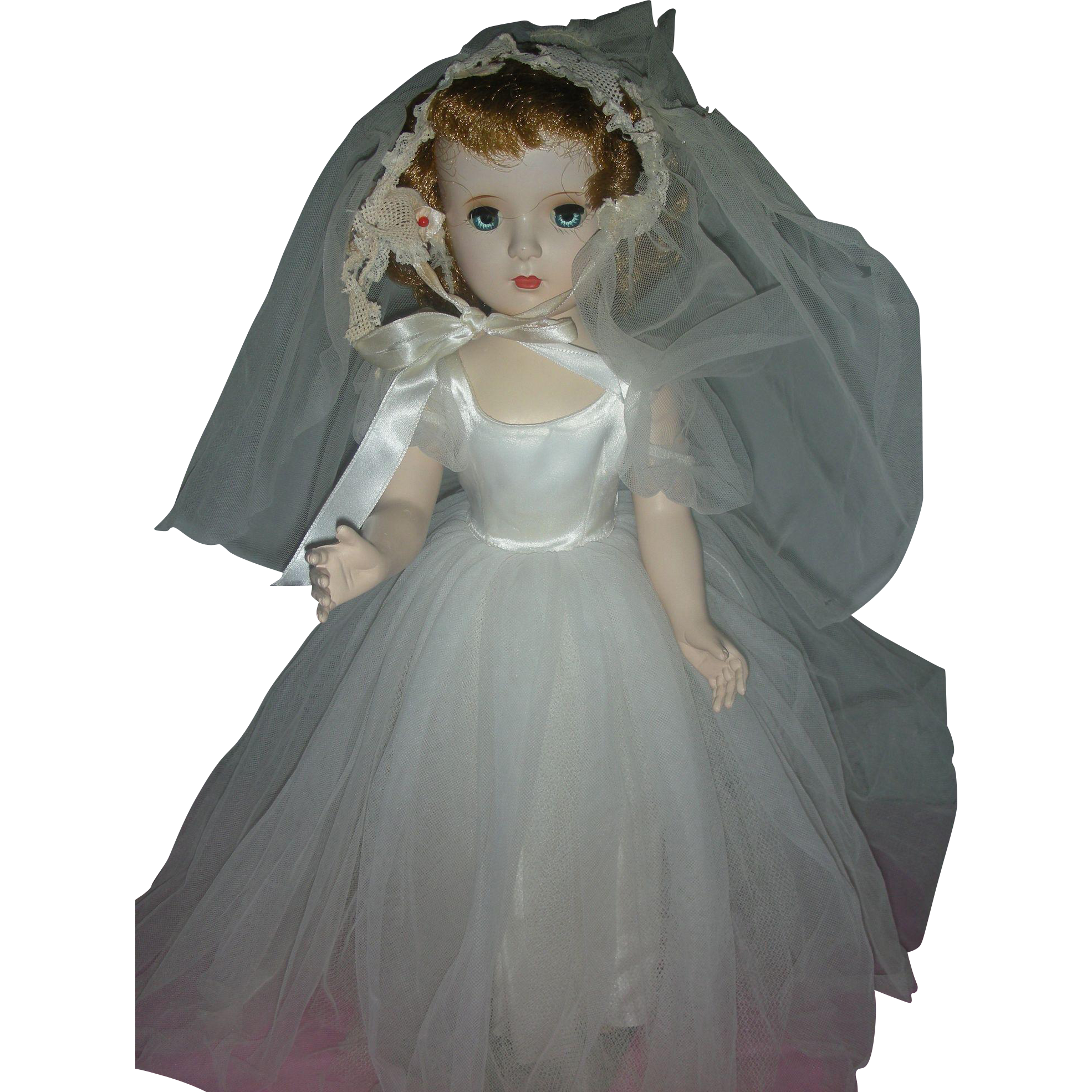 Vintage 1950's Madame Alexander Hard Plastic Margaret Face Bride Doll Tagged Dress