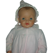 Vintage 1950's Rubber Baby Doll Molded Hair 24 inch with Working Crier Marked A&E