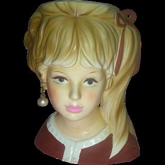 Vintage Enesco Head Vase Planter 5.5 inch Headvase pink Lips with Side Ponytail
