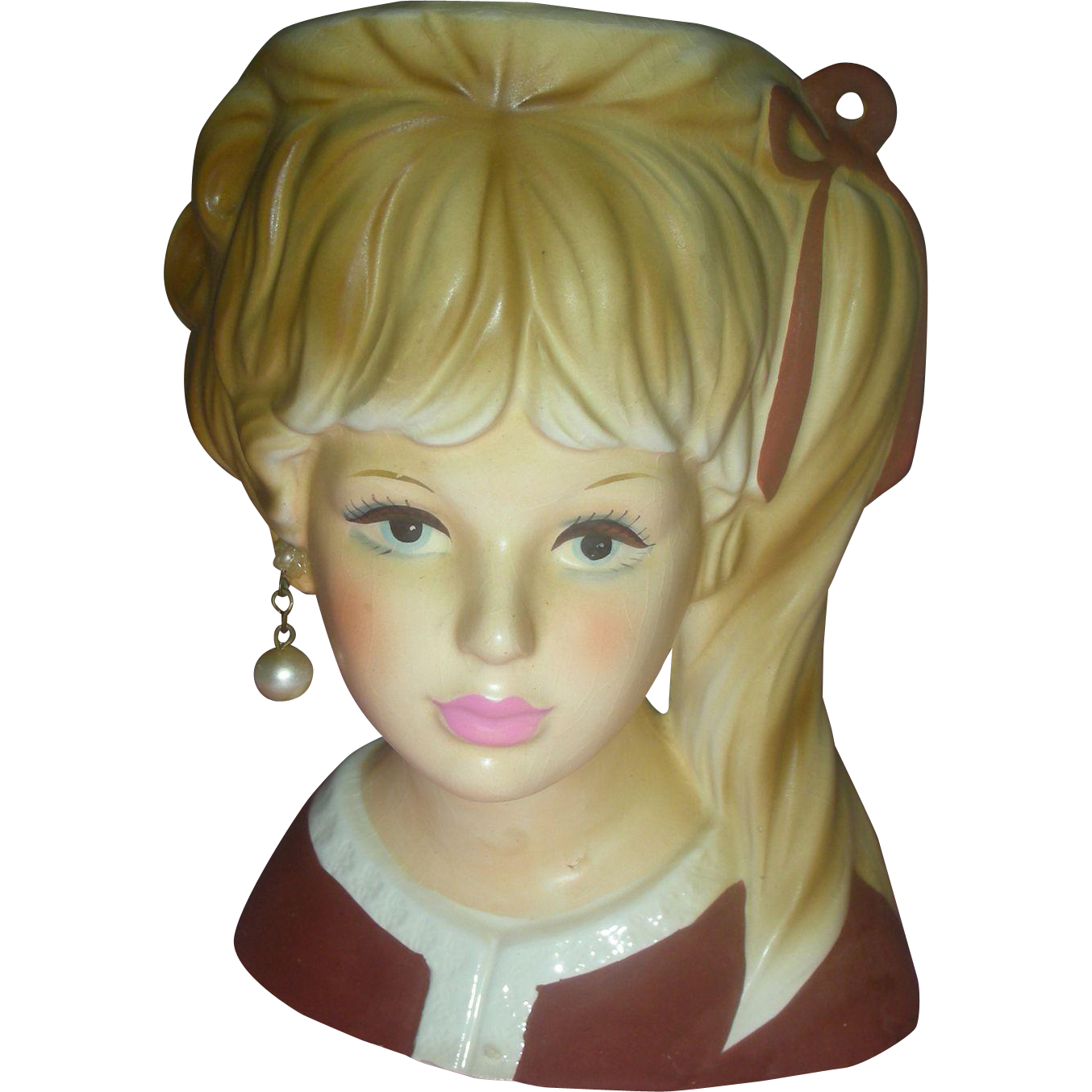 Vintage Enesco Head Vase Planter 5.5 inch Headvase pink Lips with Side Ponytail