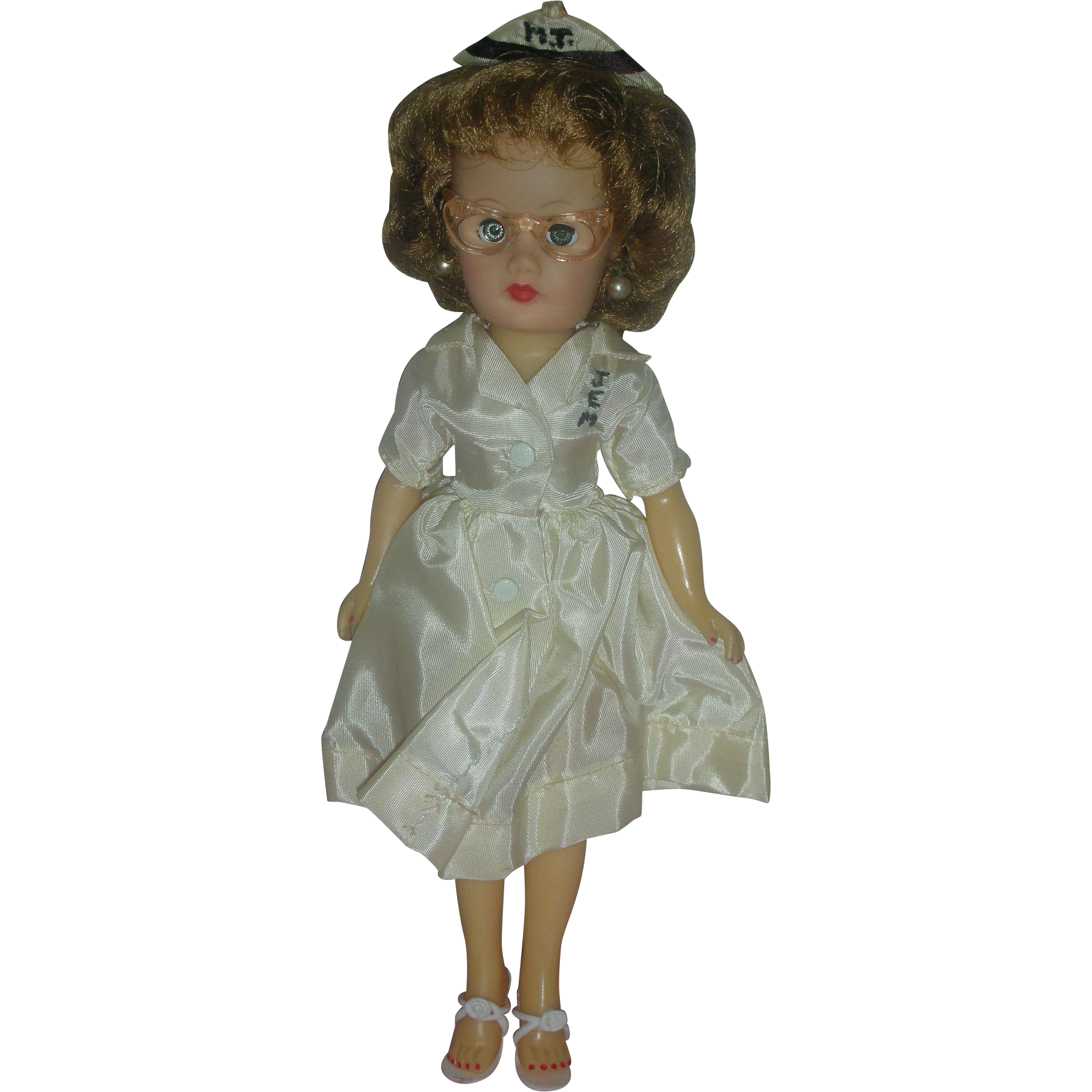Vintage Circle P Miss Coty Fashion Nurse Doll 10.5 inch 1950's Miss Revlon Type RN Dolls