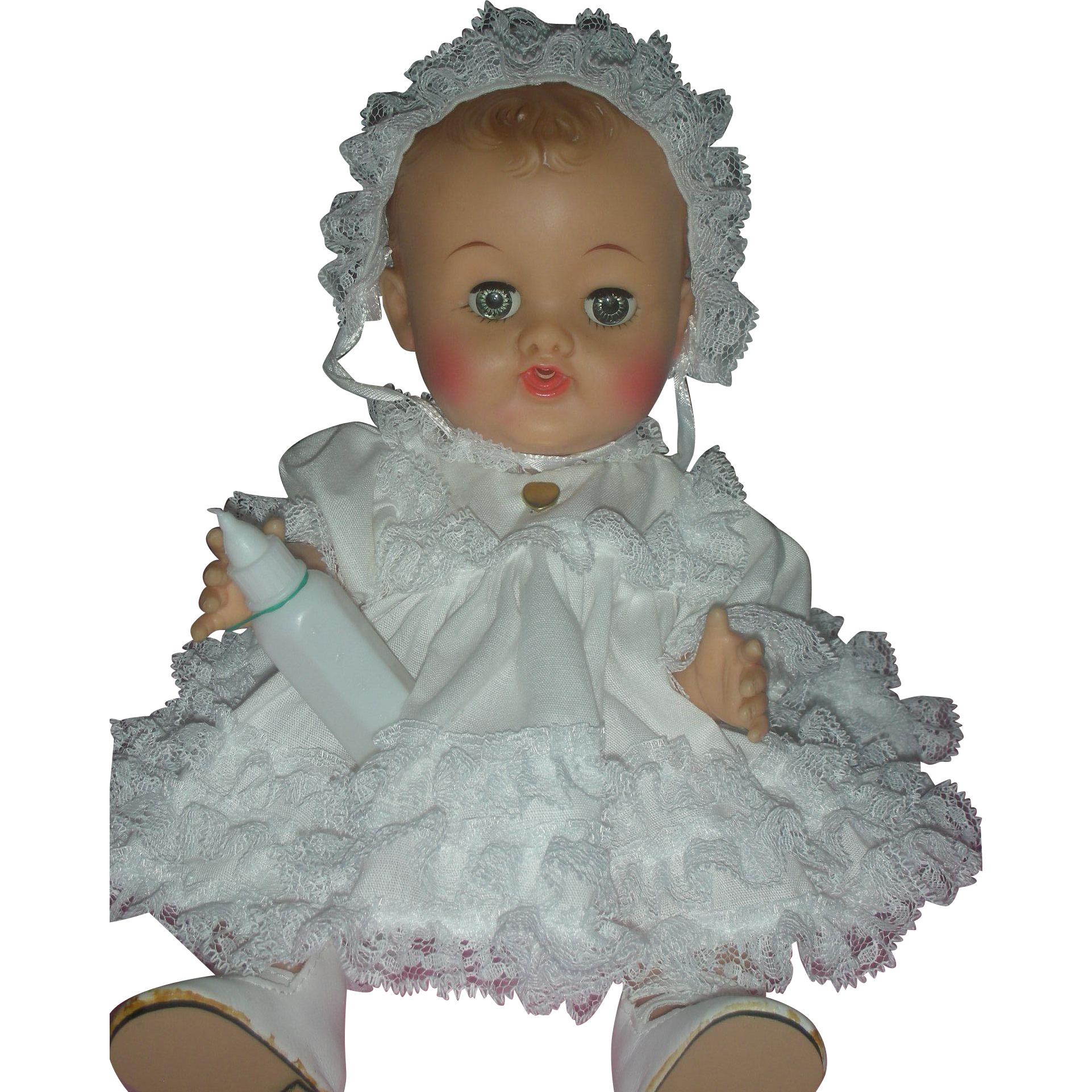 Vintage Ideal Molded Hair Drink and Wet Baby Doll 1950's Vinyl Dolls