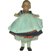 Vintage 4 inch German Dollhouse Doll Painted Bisque