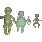 4 Vintage German All Bisque Baby Dolls