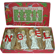 Vintage Set of Mid Century Japan Christmas Noel Angel Candle Holders Mint in Box