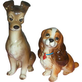 Vintage Walt Disney Lady and the Tramp Dog Figurines Japan