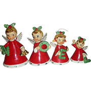 Vintage Set of Napco Christmas Angel Noel Bell Figurines 1956 Japan