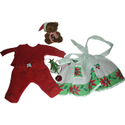 Vintage Effanbee Dy-Dee Doll Christmas Items Dy Dee Nity Nite Pjs Apron