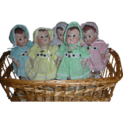 Set of Dionne Quintuplet Dolls 10 inch Chubby Toddler Baby All Bisque Dolls