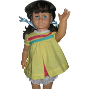 Vintage Brunette Pigtail Mattel 1960's Chatty Cathy Doll Still Works Wearing Original Nursery School Dress