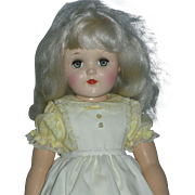 Beautiful Platinum Blonde Ideal P-93 Toni Doll Large 21 inch Size 1950's