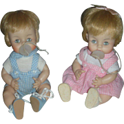 Vintage Pair of 1965 Madame Alexander Twin Drink and Wet Brother and Sister Dolls