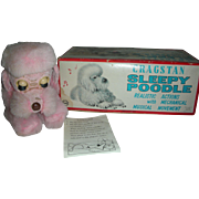 Vintage 1950's Pink Poodle Japan Windup Musical Animated Toy in Box Cragstan Doll