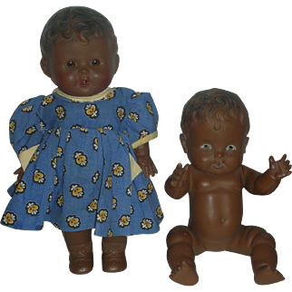 2 Vintage Sun Rubber Brown Dolls Ruth Newton So-Wee and Tod-L-:Tot Drink and Wet Dolls