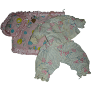 Vintage Effanbee Patsy Baby Pajamas and Wrist Bracelet Pjs Blanket and Pillow