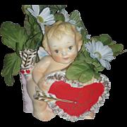 Vintage Rubens Valentines Planter with Cupid Mid Century Vase