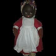 Rare Mask Face Musical Krueger 18 inch Black Cloth Doll Circa 1930's