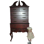 Vintage 21 inch Highboy Doll Furniture Wodden Dresser for Dolls