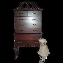Vintage 21 inch Highboy Doll Furniture Wodden Dresser for Dolls