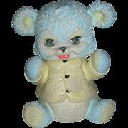 Rare Blue Edward Mobley Rubber Teddy Bear Toy Still Squeaks Sleepy Eyes 1961